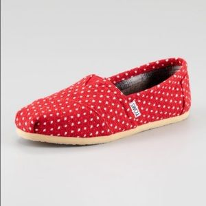 Toms Red White Polka Dot Classic Slip On Shoes